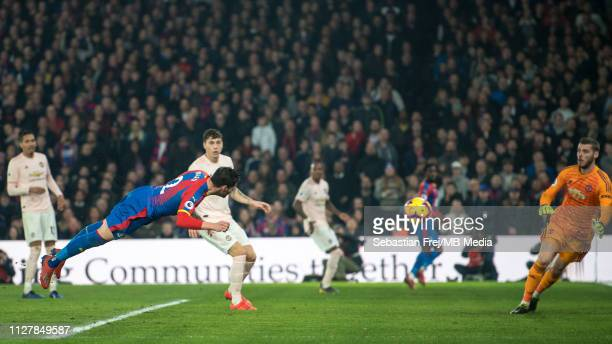 Joel Ward of Crystal Palace scores a goal during the Premier League match between Crystal Palace and Manchester United at Selhurst Park on February...