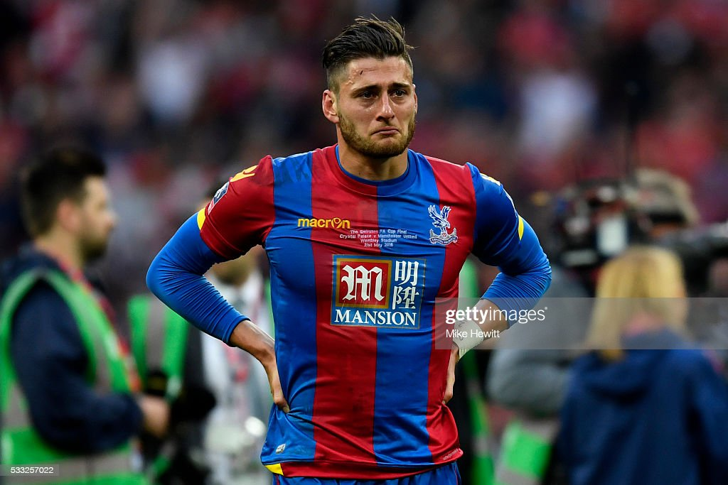Joel Ward of Crystal Palace show his emotions in defeat after The Emirates FA Cup Final match between Manchester United and Crystal Palace at Wembley Stadium on May 21, 2016 in London, England. Man Utd won 2-1 after extra time.