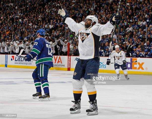 Joel Ward of the Nashville Predators celebrates the gamewinning goal in the 43 victory over the Vancouver Canucks in Game Five of the Western...
