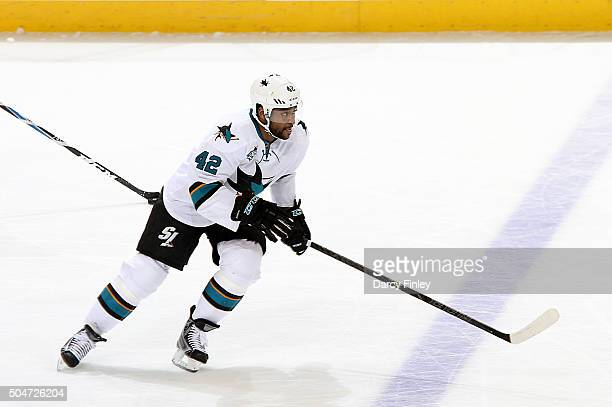 Joel Ward of the San Jose Sharks follows the play up the ice during second period action against the Winnipeg Jets at the MTS Centre on January 12...