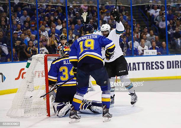 Joel Ward of the San Jose Sharks reacts after scoring a second period goal against the St. Louis Blues in Game Five of the Western Conference Final...