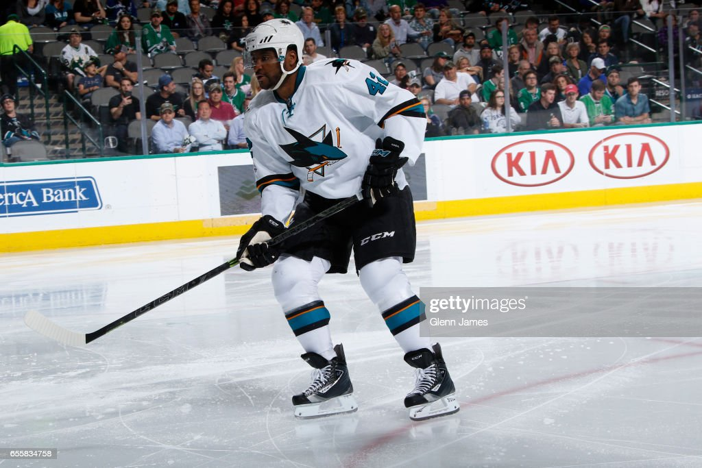 Joel Ward #42 of the San Jose Sharks skates against the Dallas Stars at the American Airlines Center on March 20, 2017 in Dallas, Texas.