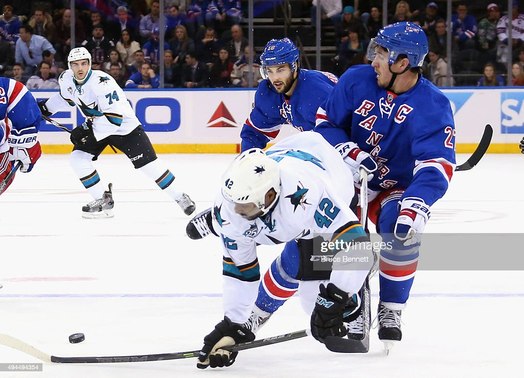 Joel Ward #42 of the San Jose Sharks skates against the New York Rangers at Madison Square Garden on October 19, 2015 in New York City.