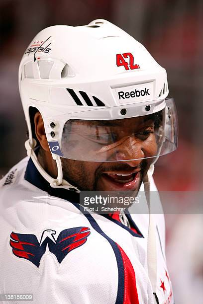 Joel Ward of the Washington Capitals warms up on the ice prior to the start of the game against the Florida Panthers at the BankAtlantic Center on...