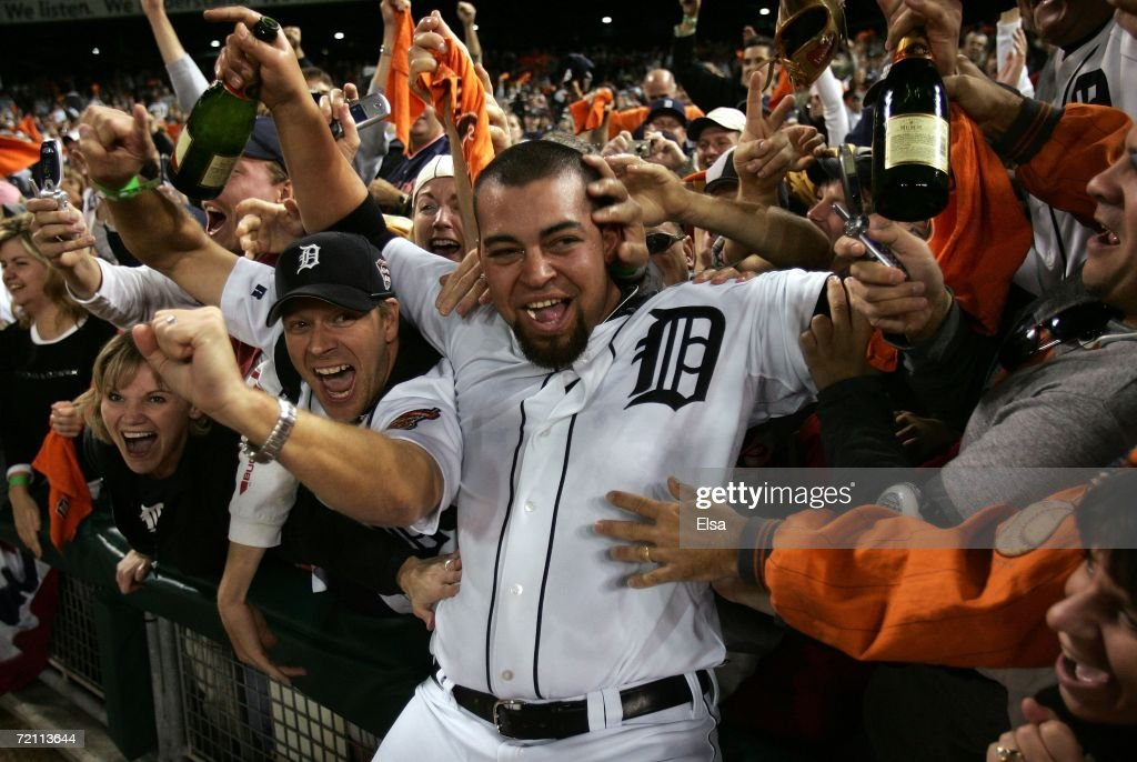 Joel Zumaya #54 of the Detroit Tigers celebrates on the field with the fans after Tigers defeated the New York Yankees 8-3 during Game Four of the 2006 American League Division Series on October 7, 2006 at Comerica Park in Detroit, Michigan. The Tigers won the series 3-1 to advance to the ALCS.