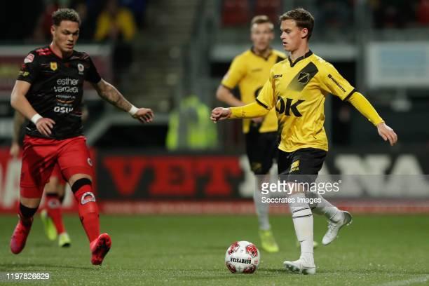 Joel Zwarts of Excelsior Rotterdam, Robin Schouten of NAC Breda during the Dutch Keuken Kampioen Divisie match between Excelsior v NAC Breda at the...