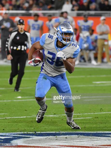 JoelÊBouagnon of the Salt Lake Stallions runs with the ball during the Alliance of American Football game against the Arizona Hotshots at Sun Devil...
