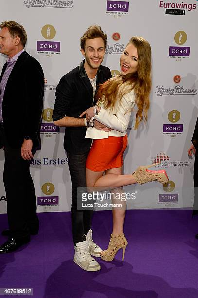 Joelina Drews and her boyfriend Marc Aurel Zeeb attends the Echo Award 2015 Red Carpet Arrivals on March 26 2015 in Berlin Germany