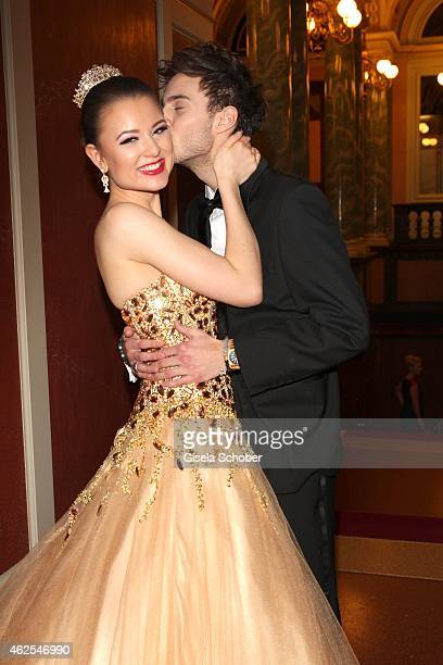 Joelina Drews and her boyfriend Marc Aurel Zeeb during the Semper Opera Ball 2015 at Semperoper on January 30 2015 in Dresden Germany