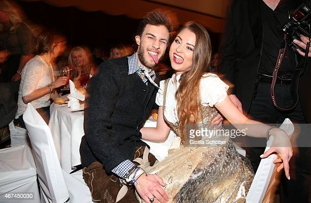 Joelina Drews and her boyfriend Marc Aurel Zeeb during the SIXT fashion dinner at Nockherberg on March 24 2015 in Munich Germany