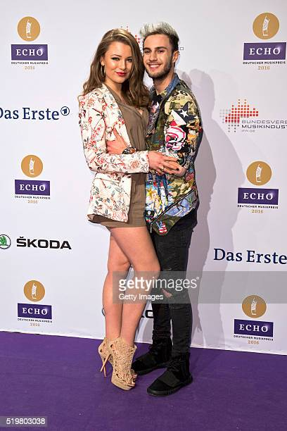 Joelina Drews and Marc Aurel Zeeb attend the Echo Award 2016 on April 7, 2016 in Berlin, Germany.
