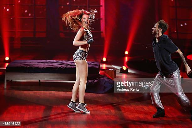 Joelina Drews and Marc Aurel Zeeb perform during the second show of the television competition 'Stepping Out' on September 18 2015 in Cologne Germany
