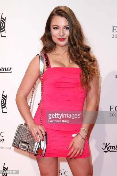 Joelina Drews attends the Echo award red carpet on April 6, 2017 in Berlin, Germany.