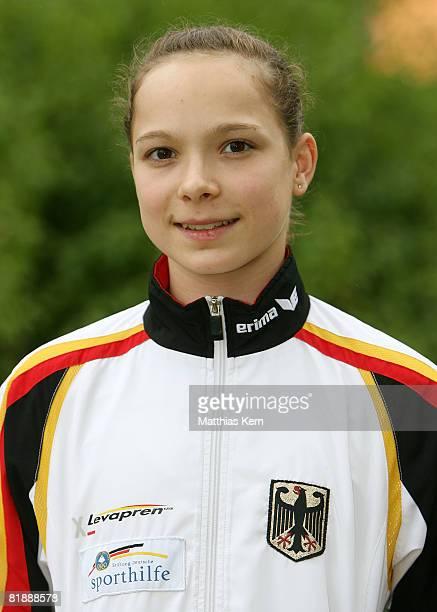 Joeline Moebius poses during the team Germany gymnastics photocall at the trainings camp Kienbaum on July 10 2008 in Kienbaum Germany
