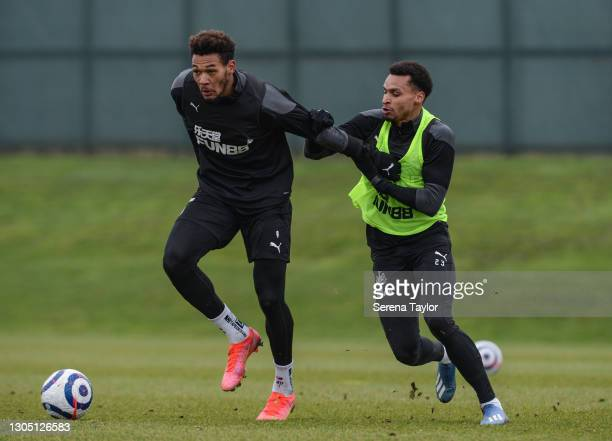 Joelinton controls the ball as Jacob Murphy defends during the Newcastle United Training Session at the Newcastle United Training Centre on March 03,...