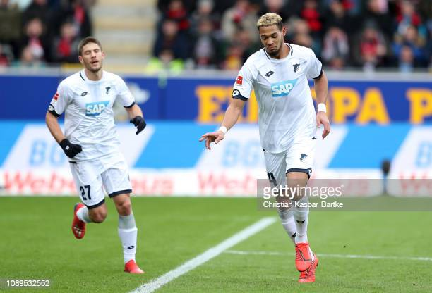 Joelinton of 1899 Hoffenheim celebrates after scoring his team's first goal during the Bundesliga match between SportClub Freiburg and TSG 1899...