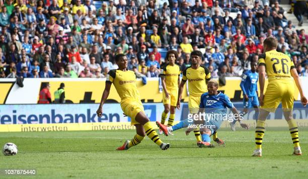 Joelinton of 1899 Hoffenheim scores his team's first goal during the Bundesliga match between TSG 1899 Hoffenheim and Borussia Dortmund at Wirsol...
