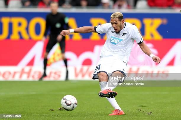 Joelinton of 1899 Hoffenheim scores his team's first goal during the Bundesliga match between SportClub Freiburg and TSG 1899 Hoffenheim at...