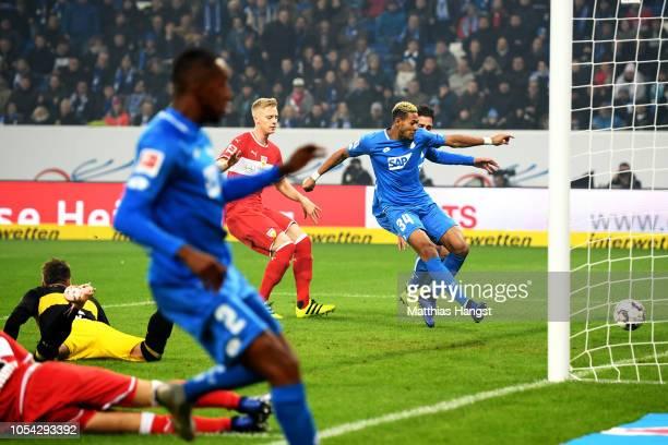 Joelinton of 1899 Hoffenheim scores his team's second goal during the Bundesliga match between TSG 1899 Hoffenheim and VfB Stuttgart at Wirsol...