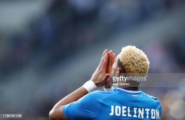 Joelinton of Hoffenheim celebrates his team's first goal during the Bundesliga match between TSG 1899 Hoffenheim and Hannover 96 at PreZeroArena on...