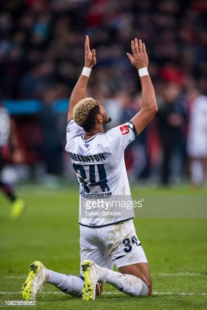 Joelinton of Hoffenheim prays after scoring his team's fourth goal during the Bundesliga match between Bayer 04 Leverkusen and TSG 1899 Hoffenheim at...