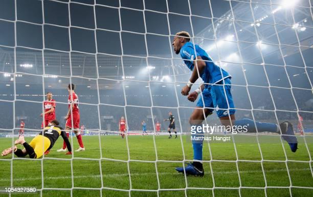 Joelinton of Hoffenheim scores his team's second goal during the Bundesliga match between TSG 1899 Hoffenheim and VfB Stuttgart at Wirsol...