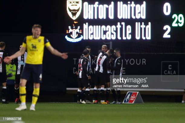 Joelinton of Newcastle United celebrates after scoring a goal to make it 02 during the FA Cup Fourth Round Replay match between Oxford United and...