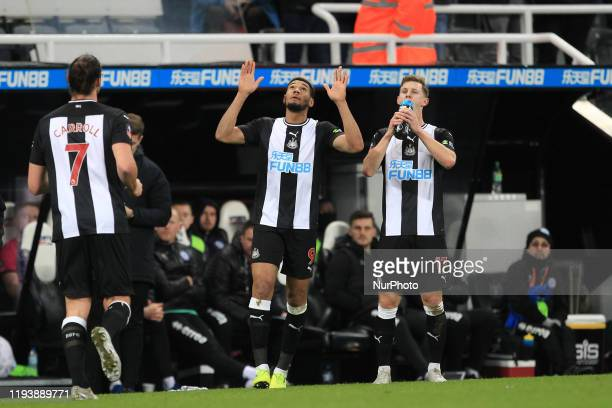 Joelinton of Newcastle United celebrates after scoring during the FA Cup match between Newcastle United and Rochdale at St James's Park Newcastle on...