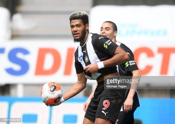Joelinton of Newcastle United celebrates after scoring his team's third goal during the Premier League match between Newcastle United and Sheffield...