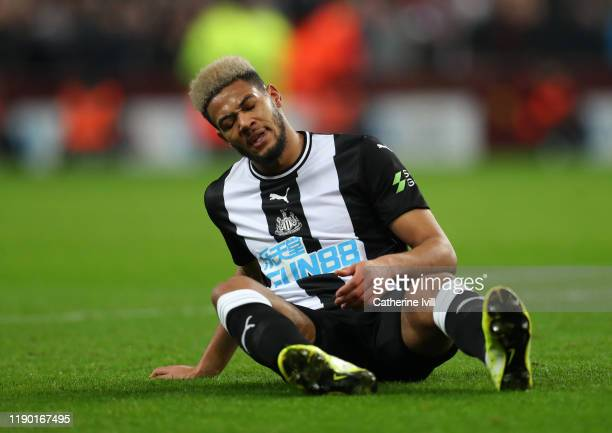 Joelinton of Newcastle United during the Premier League match between Aston Villa and Newcastle United at Villa Park on November 25 2019 in...