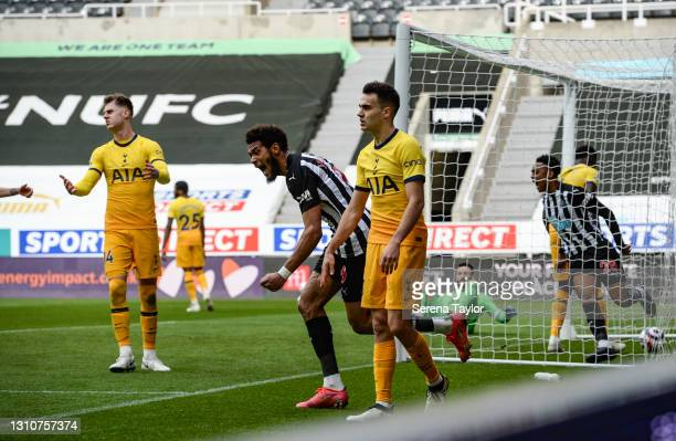 Joelinton of Newcastle United FC celebrates after Joe Willock scores the equalising goal during the Premier League match between Newcastle United and...