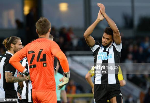 Joelinton of Newcastle United FC celebrates after scoring the second goal during the Pre Season Friendly between Burton Albion and Newcastle United...