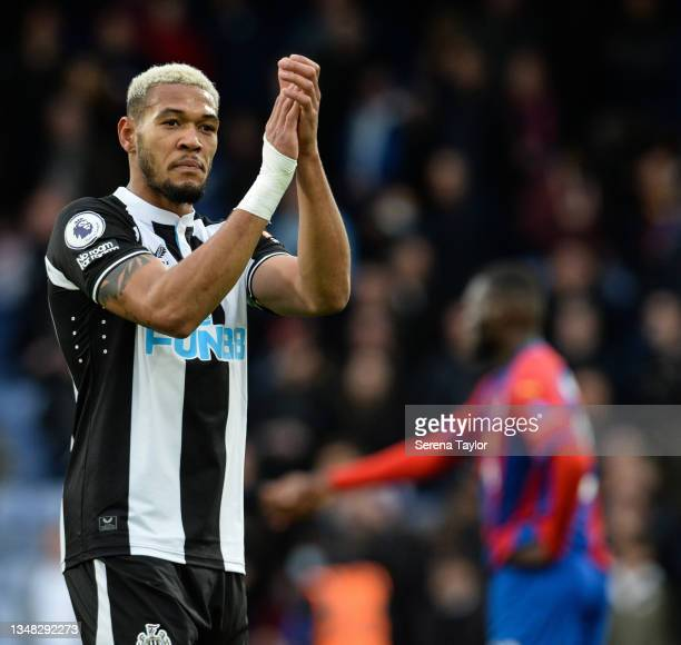 Joelinton of Newcastle United FC claps the fans during the Premier League match between Crystal Palace and Newcastle United at Selhurst Park on...