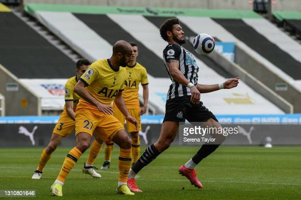Joelinton of Newcastle United FC controls the ball during the Premier League match between Newcastle United and Tottenham Hotspur at St. James Park...