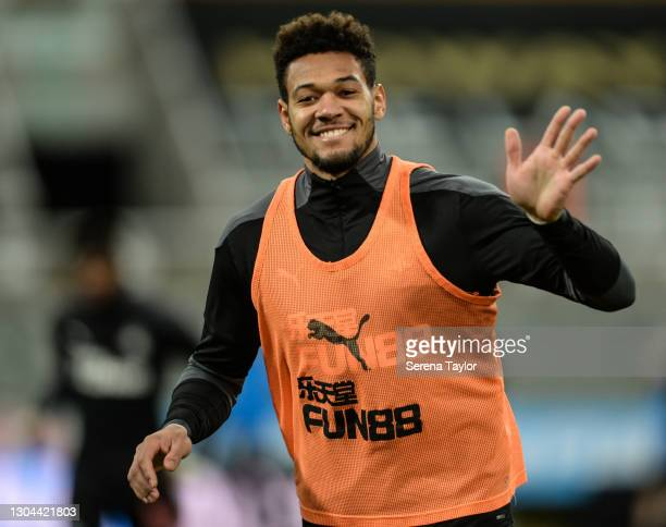 Joelinton of Newcastle United FC during the Premier League match between Newcastle United and Wolverhampton Wanderers at St. James Park on February...
