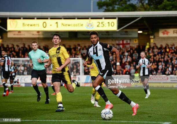 Joelinton of Newcastle United FC passes the ball during the Pre Season Friendly between Burton Albion and Newcastle United at the Pirelli Stadium on...