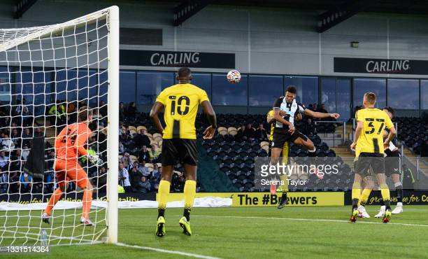 Joelinton of Newcastle United FC scores the second goal during the Pre Season Friendly between Burton Albion and Newcastle United at the Pirelli...