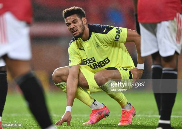 Joelinton of Newcastle United reacts during the Premier League match between Manchester United and Newcastle United at Old Trafford on February 21,...