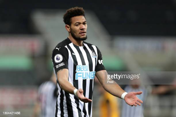 Joelinton of Newcastle United reacts during the Premier League match between Newcastle United and Wolverhampton Wanderers at St. James Park on...