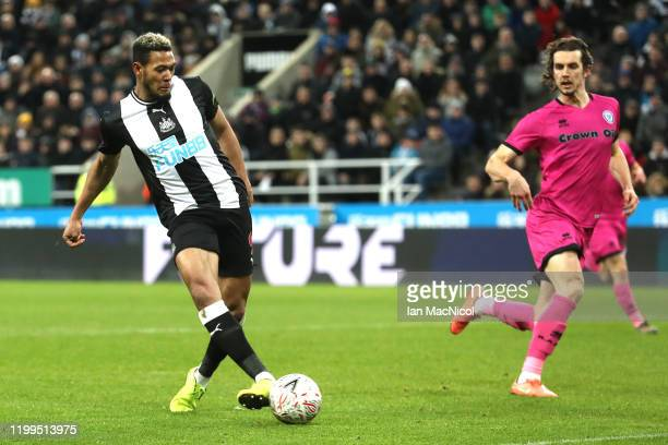 Joelinton of Newcastle United scores his team's fourth goal during the FA Cup Third Round Replay match between Newcastle United and Rochdale at St...