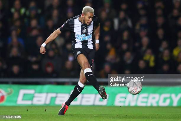 Joelinton of Newcastle United scores his team's second goal during the FA Cup Fourth Round Replay match between Oxford United and Newcastle United at...