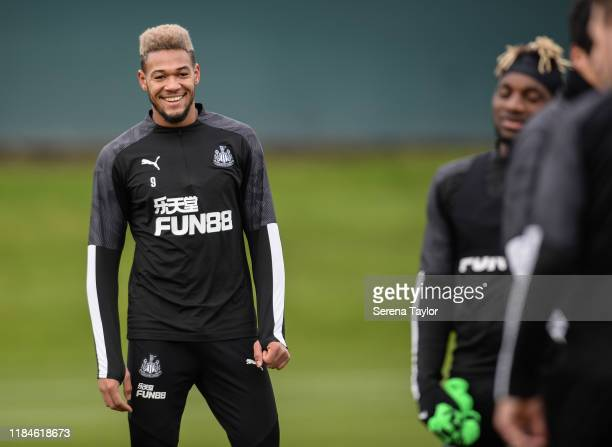Joelinton smiles during the Newcastle United Training Session at the Newcastle United Training Centre on October 31, 2019 in Newcastle upon Tyne,...