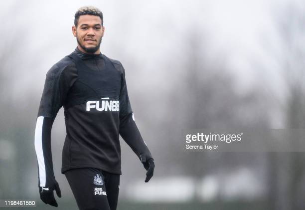 Joelinton walks outside to join the Newcastle United Training Session at the Newcastle United Training Centre on January 09 2020 in Newcastle upon...