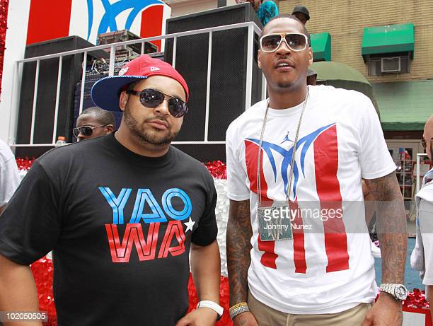 Joell Ortiz and Carmelo Anthony attends the 53rd annual Puerto Rican Day Parade on June 13 2010 in New York City