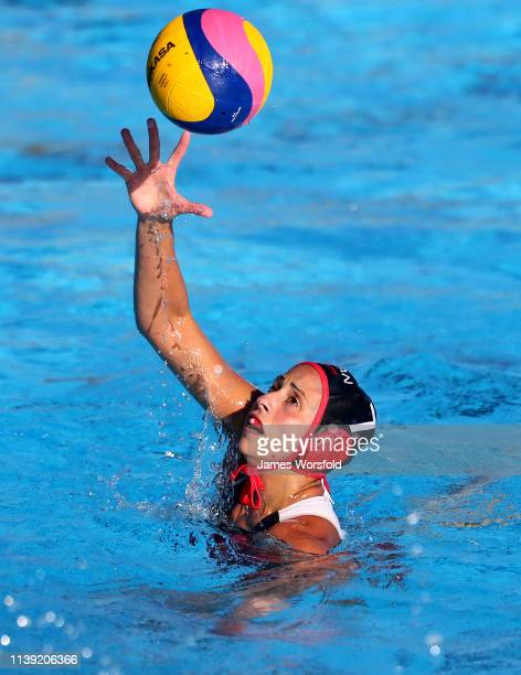 Joelle Bekhazi of Canada reaches for the ball during the 2019 FINA World League InterContinental Cup Woman's match between Japan and Canada at HBF...