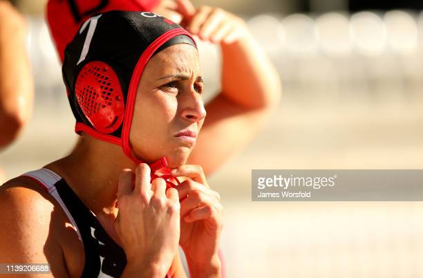 Joelle Bekhazi of Canada tightens her cap before entering the water during the 2019 FINA World League InterContinental Cup Woman's match between...