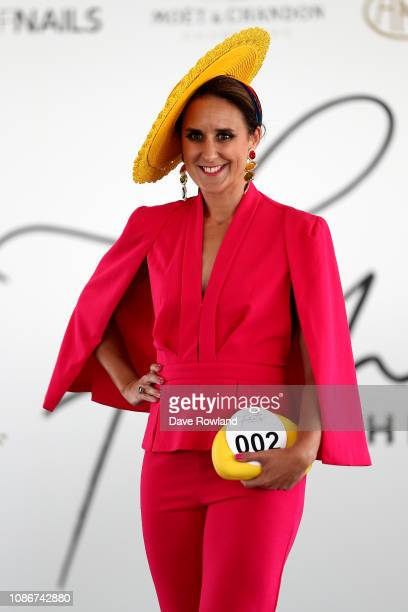 Joelle Burnside takes part in Fashion in the Fields during the Boxing Day Races at Ellerslie Racecourse on December 26 2018 in Auckland New Zealand