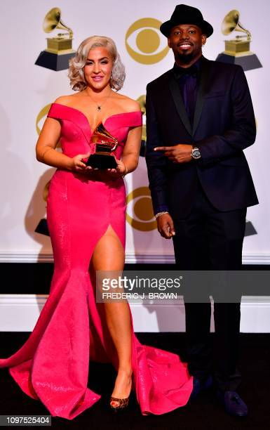 Joelle James and Larrance Dopson pose in the press room for Best RB Song Boo'd Up during the 61st Annual Grammy Awards on February 10 in Los Angeles