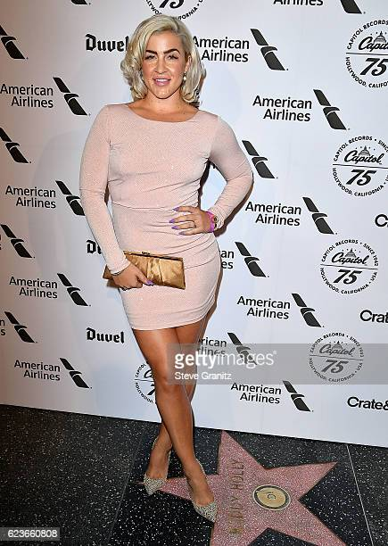 Joelle James arrives at the Capitol Records 75th Anniversary Gala at Capitol Records Tower on November 15 2016 in Los Angeles California