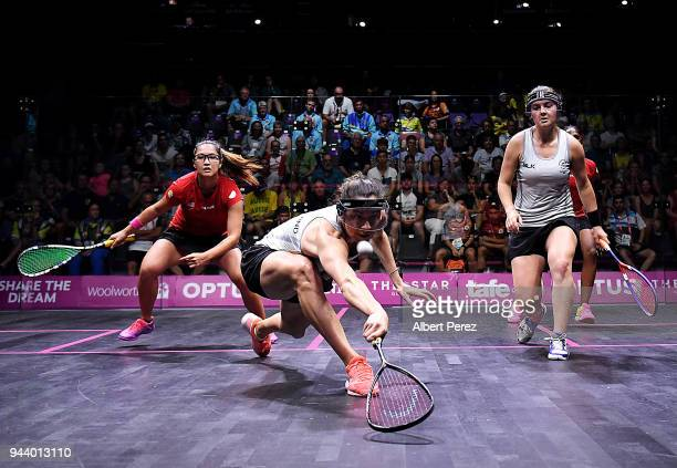 Joelle King of New Zealand competes in the Women's Doubles Group A match between New Zealand and Malaysia during Squash on day six of the Gold Coast...